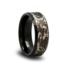 4d9bfc92f0060b 169T - Black Camo Tungsten Wedding Band with Digital Camouflage Pattern and  Beveled Edges Black Tungsten