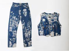 ace1344f46710 Vintage Jean Paul Gaultier  Jacquard Face Jeans and Vest suit