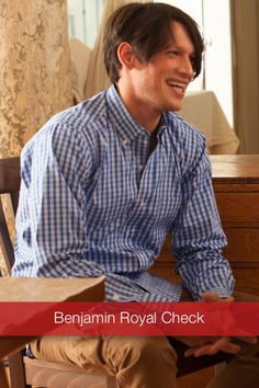 J Wingfield: Benjamin Royal Check  Comfortable, perfect fitting style with tons of personality, this woven Benjamin Royal Check White/Blue Button Down is soft, rugged and looks great with khakis or jeans.