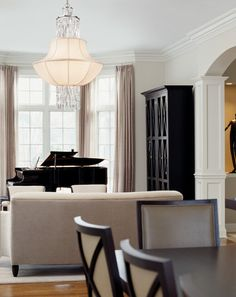 Bay Window Curtains — Love the piano (of course) and black shelf with the Milano curtains.  The only thing I could see improved is the lamp.