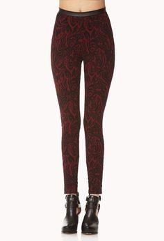 Regal Textured Baroque Leggings | FOREVER21 - 2000051235