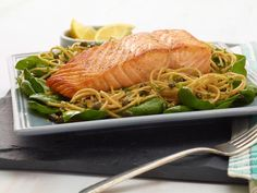Whole-Wheat Spaghetti with Lemon, Basil, and Salmon #myplate #grain #protein