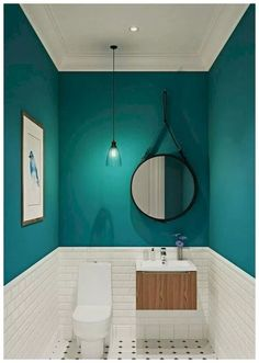 Our half bathroom ideas refer to dual sub-concepts that wrap one bathroom. This can lead to a unique look that makes the area outstanding. Read Gorgeous Half Bathroom Ideas 2020 (For Unique Bathroom) Bathroom Design Small, Bathroom Interior Design, Modern Bathroom, Bathroom Green, Bathroom Designs, Turquoise Bathroom, Minimal Bathroom, Colors For Small Bathroom, Small Dark Bathroom