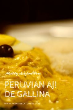 Aji de Gallina is a simple yet delicious Peruvian dish with creamy spicy chicken. Check out other must-try food and beverage from Peru. Peruvian Desserts, Peruvian Dishes, Peruvian Recipes, Latin America, South America, Yellow Chili Peppers, Heritage Recipe, Pisco Sour, Cold Appetizers