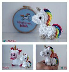 Crochet Tiny Unicorn Amigurumi Free Pattern – Knitting and crocheting Crochet Pony, Crochet Unicorn Pattern, Crochet Gratis, Crochet Amigurumi, Crochet Animal Patterns, Stuffed Animal Patterns, Cute Crochet, Amigurumi Patterns, Crochet Animals