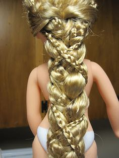 Disney Princess and Me Rapunzel Braid Tutorial- I did this for our toddler Rapunzel doll and it looks amazing! So much better than the rats nest it's hair was. We put flower barrettes in the braid when it was done. Ag Doll Hairstyles, American Girl Hairstyles, Barbie Hairstyle, Cool Hairstyles, Updo Hairstyle, Latest Hairstyles, Braided Hairstyles, Wedding Hairstyles, Natural Makeup Brands