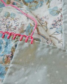 "No tutorial but good idea. ""Hand stitched blanket stitch as foundation row for crochet edging on pillowcases."""