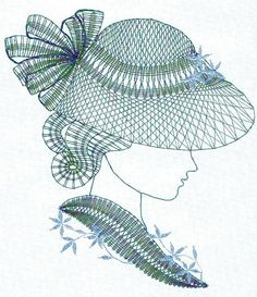 Hat Embroidery, Bobbin Lace, Headgear, Collages, Fashion Art, Stitches, Needlework, Art Deco, Scrapbooking