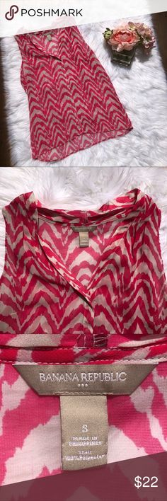 Pink Zebra Banana Republic Sleeveless Blouse This fun Top is by banana republic and is a size small. It's got a great pop of pattern with it's pink zebra stripes. It's in great condition. Thank you for looking! Banana Republic Tops Blouses