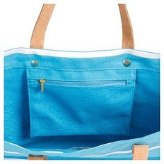 Women's Monogram Blue Striped Tote with Leather Handles - X, Size: Large, Blue - X