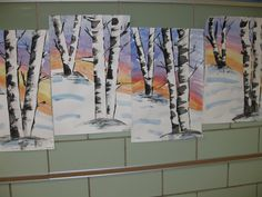 Water color and tempra birch trees, gr.5