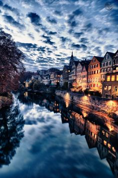 Canal Reflections at Sunset ~ Tübingen, Germany