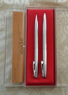 Sheaffer Pen & Pencil Box Set White Dot Vintage Silver Clip Ball Point
