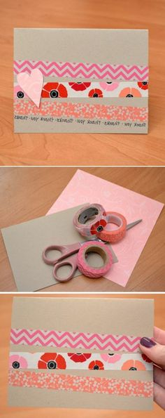 What to do with masking tape 72 DIY ideas too creative - Diy birthday invitation Masking Tape, Washi Tape Cards, Tape Crafts, Diy And Crafts, Diy Birthday Invitations, Photo Album Scrapbooking, Funny Christmas Cards, Idee Diy, Diy Cards