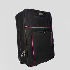 Kufor stredný látkový v čiernej farbe s ružovým lemom Backpacks, Bags, Fashion, Colors, Handbags, Moda, Fashion Styles, Backpack, Fashion Illustrations