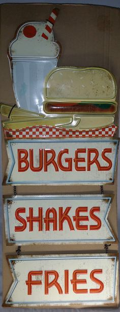 Embossed BURGERS SHAKES FRIES Metal SIGN Restaurant Cafe Pub Grill Store Display