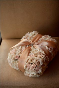 Luxury floral pillow with gold ribbon | Flora Nova Design - The Blog