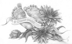 I am not sure why I never uploaded this drawing. A girl I work with wished for a tattoo and after some discussion about her likes and dislikes, I designed this concept for it. I referenced the fl. Baby Feet Tattoos, Birth Flower Tattoos, Foot Tattoos, Body Art Tattoos, Tattoo Drawings, Print Tattoos, Sleeve Tattoos, Tatoos, Mommy Tattoos
