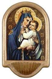 Our Lady of Mt. Carmel Holy Water Font Click picture to see on Lady Of Mount Carmel, Water Font, Classic Artwork, Blessed Virgin Mary, Wood Plaques, Blessed Mother, Our Lady, Catholic, Framed Prints