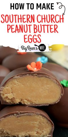 Love the Chocolate Peanut Butter Eggs that churches make around Easter time? These Southern Church Peanut Butter Eggs are just like those, they're perfect and taste amazing! via @bigbearswife Slow Cooker Recipes Dessert, Dessert Recipes For Kids, Easter Recipes, Cute Easter Desserts, Easy Desserts, Easter Decor, Easter Crafts, Peanut Butter Eggs, Southern Desserts