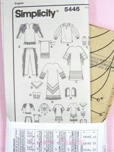 Simplicity 5446 Sewing Pattern Ladies Mens Adult Native American ...