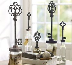 "Key Topped Bottles, Set of 3 :: $59 | Pottery Barn :: [Small: 3""w, 2""d, 7.5""h 