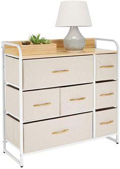Amazon.com - mDesign Wide Dresser Storage Chest, Sturdy Steel Frame, Wood Top & Handles, Easy Pull Fabric Bins - Organizer Unit for Bedroom, Hallway, Entryway, Closet - Textured Print, 7 Drawers - Cream/White -