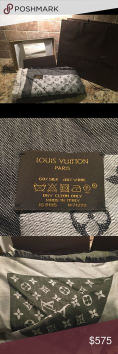 Louis Vuitton Monogram Denim Shawl in Black LV Monogram Denim Shawl in Black. Shard was purchased in 3/15. Comes with bag, box with leather string and tissue paper, receipt and holder. Worn twice and folded and put back in the box. Smoke free home, do have pets but they are not near my clothing or accessories. Has creasing from being folded. I cant find snags but the tag in the corner has one side unattached (it's delicately attached). 56.1X56.1. Basically new. No trades. Not selling on any…