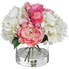 Blooms by Diane James Pink & White Bouquet ($275) ❤ liked on Polyvore featuring home, home decor, floral decor, flowers, fillers, fillers., decor, artificial rose bouquet, pink and white bouquet and flower bouquets