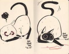 hilariously adorable cat drawings by emi lenox (5) I'm thinking 3 panels inspired by these drawings.