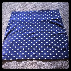 Charlotte Russe skirt Blue w/ white polka dots//LRG//good condition Charlotte Russe Skirts