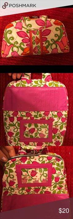 "VERA BRADLEY Clementine kiss n snap wallet used in excellent condition vera bradley clementine kiss n snap wallet bright pink embossed lining multiple card slots two clear center compartments 8x4"" bundle for savings Vera Bradley Bags Wallets"