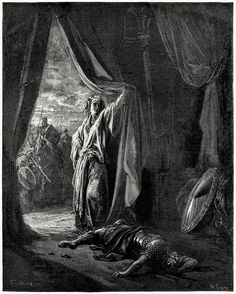 Sisera slain by Jael.    Gustave doré, from The Doré Bible gallery, Philadelphia, not dated.