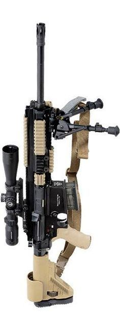 2013 LRP: Taking an essentially standard (caliber x 51 mm NATO) semi-automatic rifle, Heckler & Koch USA turns it into a more effective precision rifle Weapons Guns, Military Weapons, Guns And Ammo, M4 Airsoft, Semi Automatic Rifle, Long Rifle, Fire Powers, Assault Rifle, Cool Guns