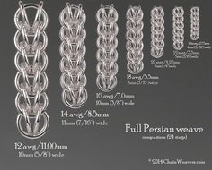 Full Persian 6 in 1 weave. Size chart comparison based on 24 rings in different sizes.