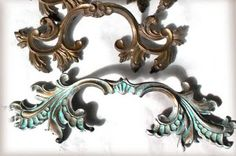 Turquoise patina drawer pulls.  Easy!