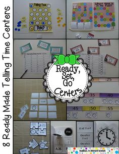 Ready, Set, Go Centers - Telling Time to the Nearest Five Minutes. 8 Ready Made Centers perfect for math workshop, centers, math tubs or small group work. Common Core Aligned for Second Grade. 50% off for the first 48 hours.