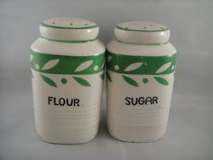 Spice Shakers Flour and Sugar White and Green by WishingWellsGlass