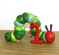Items similar to The Very Hungry Caterpillar with 1 - Clay Birthday Cake Topper on Etsy Baby Birthday, First Birthday Parties, First Birthdays, Birthday Ideas, Kid Parties, Hungry Caterpillar Cake, Cupcakes, Birthday Cake Toppers, Birthday Cakes