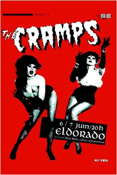 Cramps, The - The Cramps at Paris France Concert Poster 1980 in Punk Rock Music Posters Rock Posters, Band Posters, Film Posters, Film Music Books, Art Music, 70s Punk, The Cramps, Music Images, Psychobilly