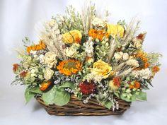 fall floral arrangement, dried flower arrangement, floral centerpiece, dried flowers, fall floral decor, basket arrangement on Etsy, $72.00