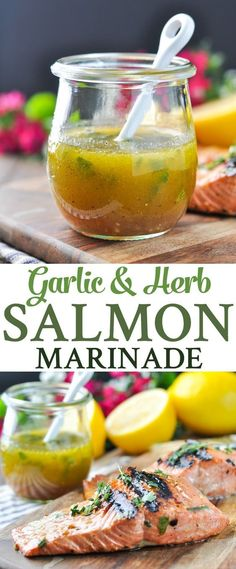 This Garlic and Herb Salmon Marinade is a flavorful and healthy way to enjoy an easy seafood dinner -- in just 15 minutes!
