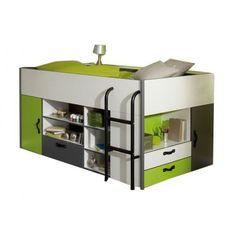 Handige hoogslaper met veel kastjes    http://jeeigenkamer.nl/product/189/praktische-halfhoogslaper-model-kiwi