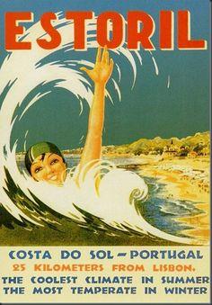 Vintage Travel Poster: Estoril, Portugal