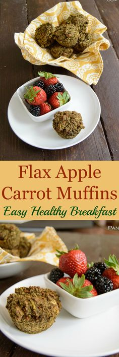 Flax Apple Carrot Muffins are the perfect way to start the day. This easy, healthy recipe can be made early in the week for quick to-go breakfast! Filled with fruit, veggies and protein to keep you full!