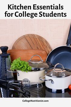 Getting ready to live in your first dorm or apartment? Take a look at these budget friendly kitchen staples for everything you need to cook healthy meals and stay on track and avoid the Freshman 15! #collegenutritionist #budgetingtips #budget #kitchenessentials #collegechecklist College Food Hacks, College Dorm Organization, College Meals, College Checklist, College Essentials, Kitchen Essentials, Healthy Meals To Cook, Healthy Recipes, Freshman 15