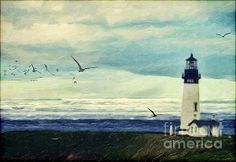 Gulls' Way - by Lianne Schneider Lighthouse and seagulls digital painting based on a public domain reference photo of Yaquina Light, Oregon. Available at Fine Art America