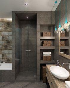 Example of a walk-in shower and bath in a small bathroom - Dekoration Bathroom Design Luxury, Modern Bathroom Design, Bathroom Designs, Bathroom Storage, Small Bathroom, White Bathroom, Bathroom Organization, Bathroom Toilets, Bathroom Bath