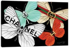 Chanel Wall Art, Canvas Prints & Paintings   iCanvas Canvas Artwork, Canvas Art Prints, Canvas Frame, Canvas Wall Art, Butterfly Canvas, Fashion Wall Art, First Art, Print Artist, Fine Art Paper