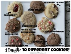 1 Dough Recipe for 10 Different Cookies!!
